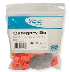 IC107E5CRD - 25PK Cat5 Jack - Red by ICC