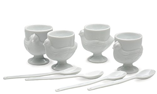 RSVP Porcelain Egg Cups and Spoons, Set of 4 (Egg Cup Porcelain)