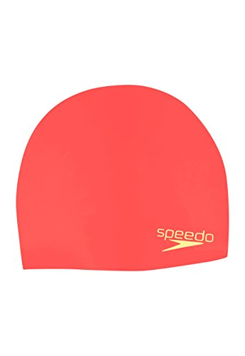 Speedo Elastomeric Solid Silicone Swim Cap, Coral, One Size