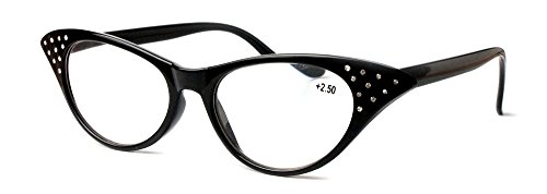 Amillet Vintage Ladies Cat Eye Black Reading Glasses with Rhinestones for - Cat Shape Eye