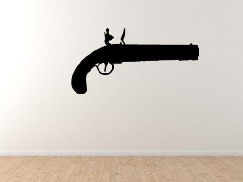 "Pistol Silhouette #8 - Flintlock Pistol Pirate Handgun - 45"" Black Wall Vinyl Decal Decorative"