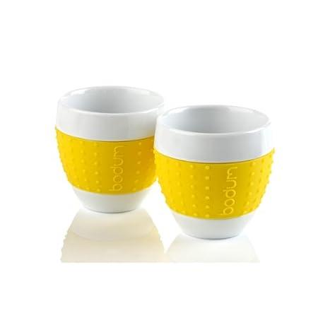 Bodum Pavina Porcelain Mugs 0.08Litre With Silicone Sleeve Yellow 11155 117