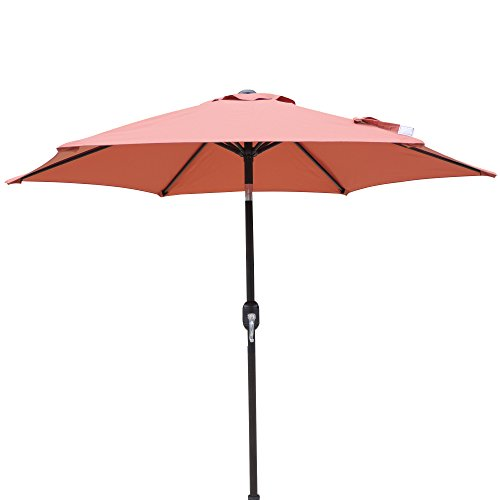 Terra Cotta Bistro Table - Island Umbrella NU5447TC Hexagon Market Umbrella Patio, Terra Cotta