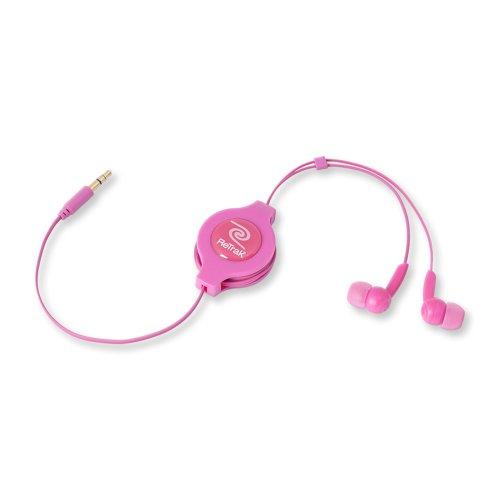 ReTrak Retractable Stereo Earbuds, Pink (ETAUDIOPNK)