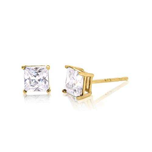 Square Princess Cut 3mm white Cubic Zirconia .925 Sterling Silver Gold Plated Basket Setting Unisex Stud Earrings