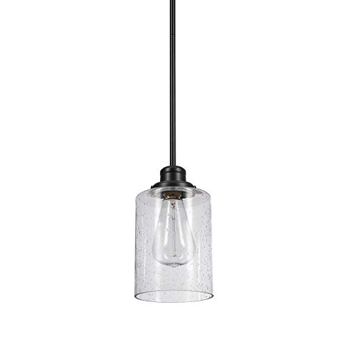Globe Electric 60391 Annecy Pendant, Dark Bronze with Seeded Glass Shade