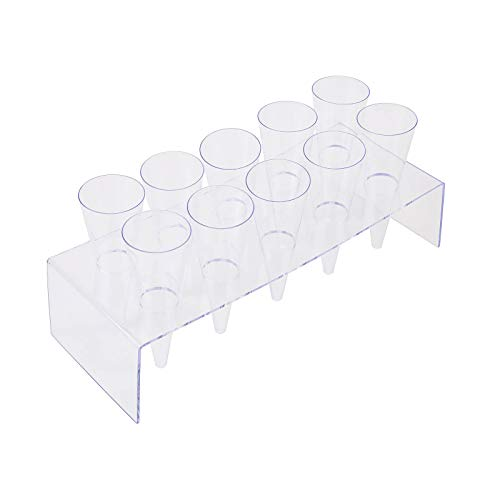 BalsaCircle 20 pcs 3.5 oz Clear Plastic Cones Cups 2 Display Trays - Disposable Wedding Party Catering Tableware Single - Cone Display
