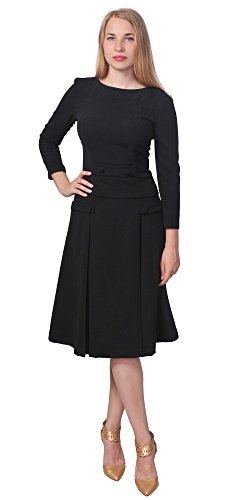 Marycrafts Womens Classic Business Work Vintage Aline Midi Skirt Suit 12 (Black Womens Skirt Suit)