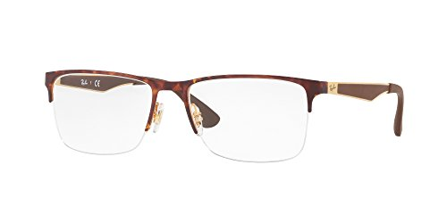 Ray-Ban Men's RX6335 Eyeglasses Gold/Havana 56mm