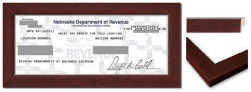 Sales Tax Certificate Wood Frame - 8.5 x 3.5 Inches - Brown Wood