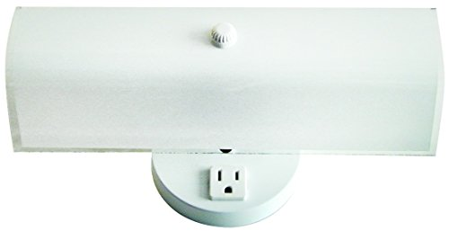 Sunlite B14 GCO 14-Inch 2-Bulb Rectangle Bathroom Wall Fixture, with Outlet White Finish with Ornate White Glass lovely