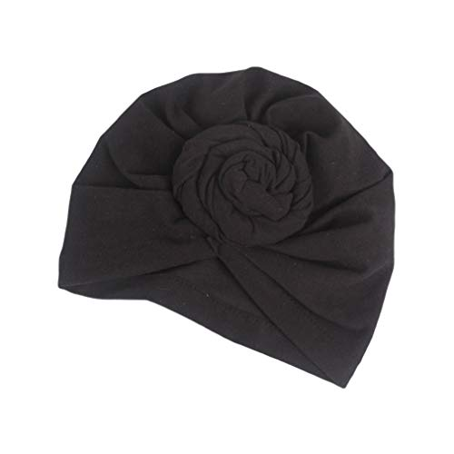 COMVIP Women Knot Twisted Cotton Turban Cap Stretchy Head Wrap Scarf Black