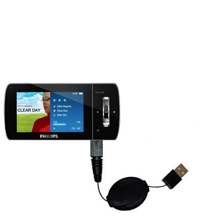 Philips Muse MP3 Video Player FullSound wiried Gomadic compact and retractable USB Charge cable - a USB Power Port Ready design and uses TipExchange SCR-3067