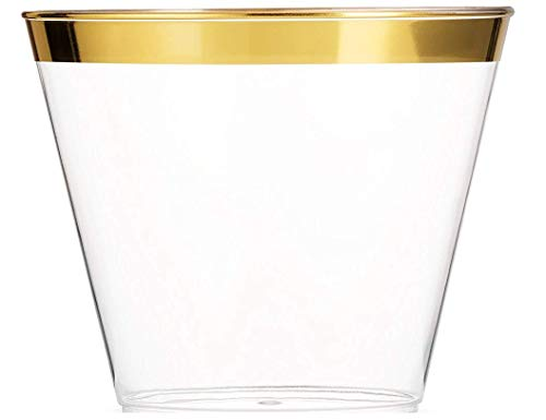 100 Gold Rimmed Plastic Cups | 9 Oz. | Cups for Wedding | Gold Rim Plastic Cups | Wedding Disposable Cups | Clear Heavy Duty Plastic Tumblers | by Syllux