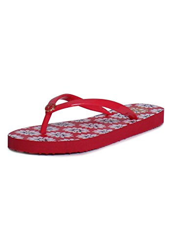 Tory Burch Thin Flip Flop Sandal Printed Red Navy Sea and Wh