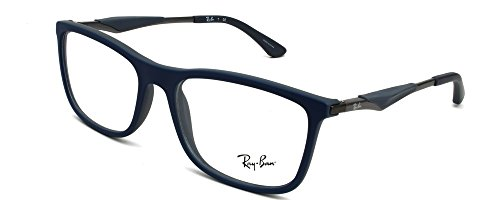 Ray Ban Optical Montures de lunettes RX7029 Pour Homme Matte Black, 53mm 5260: Blue / Matte Dark Grey