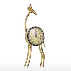 TUKURIO Retro Deer Clock Sculpture Handmade Metal Mute Table Clock Creative Useful Home Accessories