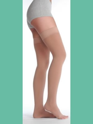 Silver Stocking 20-30 Mmhg, Model 2061 (Size 2 Thigh High (ag) open toe Silicone Border, Silver) by Juzo