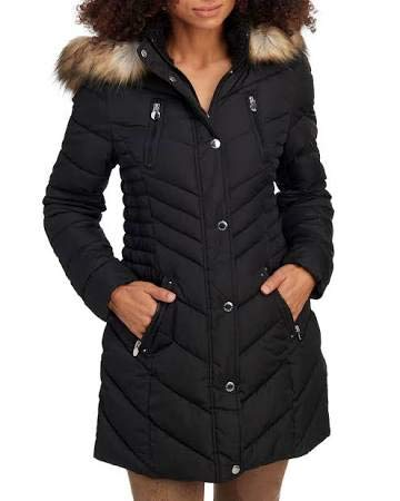 Laundry Coat Quilted (Laundry by Shelli Segal Faux-Fur-Trim Quilted Puffer Coat (Large) Black)