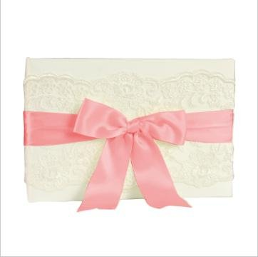 Cathy Pink Ribbon - Custom Made Luxury Wedding Ivory Chantilly Lace Guest Book with Satin Ribbon Accent (Petal Pink)