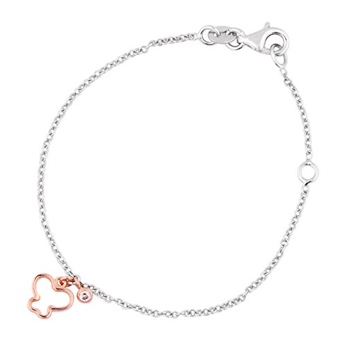 """UNICORNJ Childrens Toddler 14k White and Rose Gold Cubic Zirconia Open Butterfly Charm Bracelet 5.75"""" Italy"""