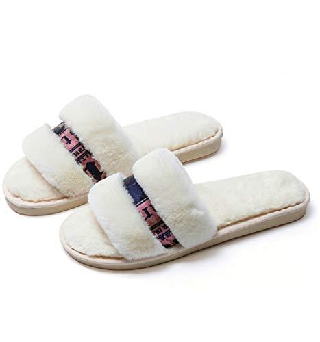 de de algodón de Felpa cálidas otoño de 36 Mujer Zapatillas Zapatillas Blancas de casa Shenhai Zapatillas 37 tSqY0Y