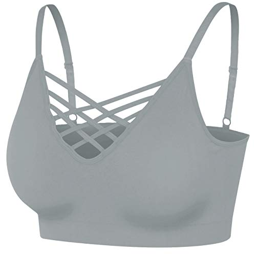 Women's Front V Lattice Crop Top Tank Cami Camisole Sexy Slim Bralette with Removable Pads Sports Bras Plus Size [S-3XL] Grey Mist SM