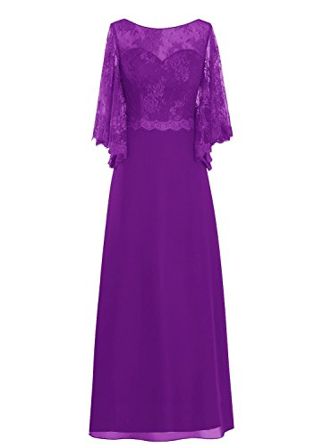 of Mother Women' Rot Fanciest Kleides Lang Bride the Sleeve Purple Spitzen ZCdXqI