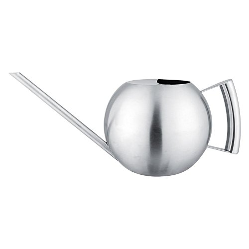 - Wifehelper Watering Pot, 1000mL Stainless Steel Watering Can Long Mouth Round Sprinkling Pot Modern Style Watering Pot for Home Garden Plant
