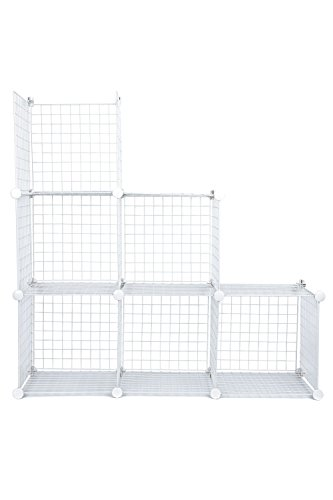 J.S. Hanger White Wire Storage Cubes, Set of 6, Clothes Organizer