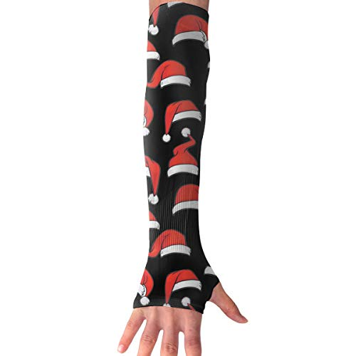 WAY.MAY Christmas Hat Pattern Sun Protection Sleeve Long Arm Fingerless Gloves Outdoor Sleeve