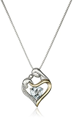 Aquamarine 14k Gold Pendant Necklace - Sterling Silver and 14k Yellow Gold Heart Mother's Jewel Aquamarine and Diamond Accent Pendant Necklace, 18