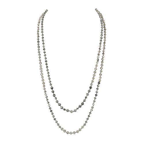 """RIAH FASHION Bead Strand Versatile 60"""" Long Wrap Necklace - Handmade Knotted Multi Layer Sparkly Crystal, Semi Precious Natural Stone, Lava, Glass Faux Pearl"""