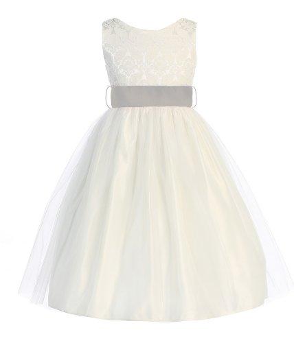 Sweet Kids Girls Jacquard & Tulle Dress ~ 4 Off Wht Plat Grey(Sk 394)