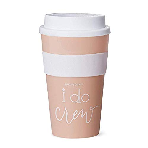 Hot & Cold Coffee Tumblers – Bachelorette Bridal Party & Wedding Shower Drink Glasses, Favors, Supplies + Accessories to Celebrate Bride-to-Be (1 Tumbler, I Do Crew – Pink Blush)
