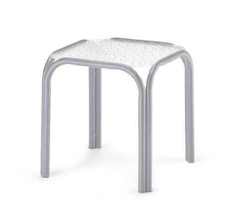 Telescope Casual Square Powder Coated Aluminum Acrylic End Table, 17-Inch, Textured Silver Frame Finish (Coated Frame Silver)