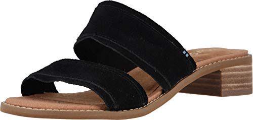 TOMS Women Mariposa Two-Strap Slide Sandal, Black Suede (8.5 B US)