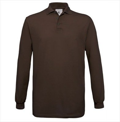 B&C - Langarm Poloshirt 'Safran LS' XXL,Brown