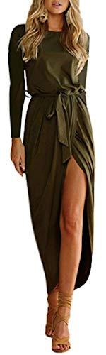 AIK Women's Long Sleeves Pleated Slit Evening Cocktail Maxi Dress/Sexy Casual (XL, Khaki) ()