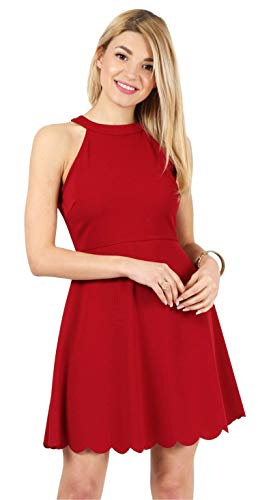 Red Dresses for Women Red Sleeveless Dress Halter Neck Dresses for Women Red Scalloped Dress Reg and Plus Size Party Dresses Graduation Dresses Red Cocktail Dress (Size Small US 2-4, Red)