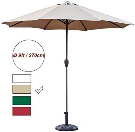 CHHDガーデンパラソル9フィートパティオパラソル屋外ガーデンテーブル傘クランク付き、ポータブルデッキマーケットデッキポーチ裏庭プール側(色:ダークグリーン、サイズ:270cm)