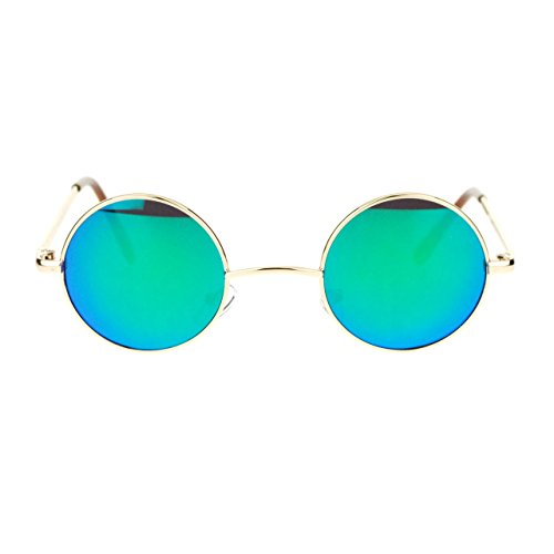 Small Size Round Circle Gold Metal Frame Sunglasses Teal Mirror Lens