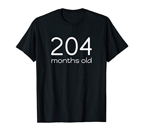 Funny 204 Months Old 17th Birthday T-Shirt Math Geek Gift
