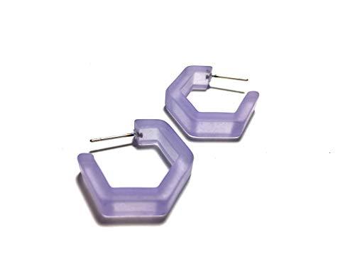 Lavender Geometric Honeycomb Hex Lucite Hoop Earrings ()