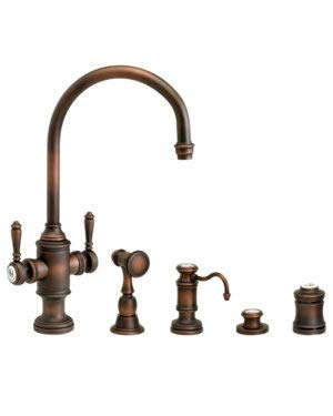 (Waterstone 8030-4-CHB Hampton Two Handle Kitchen Faucet 4pc. Suite Chocolate Bronze)