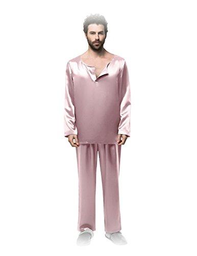 Long sleeves slit neckline silk pajamas for man 22 momme by Fairylotus