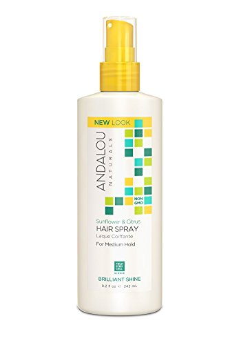 Andalou Naturals Sunflower & Citrus Brilliant Shine Hair Spray, 8.2 oz., Helps Give Hair Smooth Shine & De-Frizz Split Ends