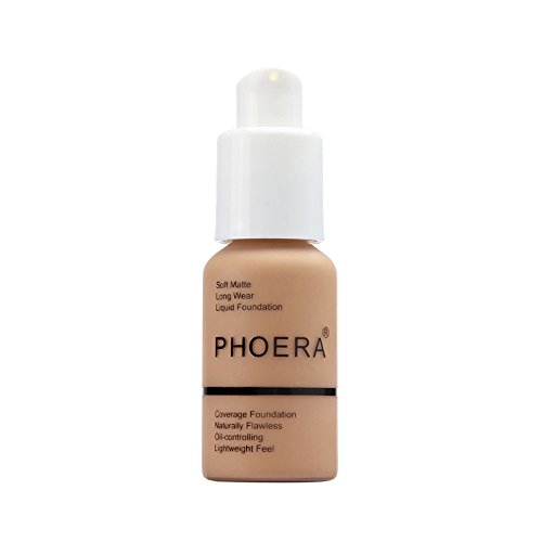 New 30ml PHOERA Matte Oil Control Concealer Liquid Foundation Cream Long Lasting Waterproof Cover Full Coverage Soft Brighten Long Wear Lightweight Feel Naturally Flawless All Day (105)