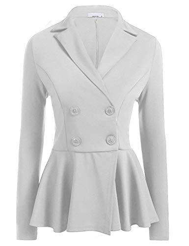 Business Bavero Donna Slim Button Giacche Marca Eleganti Tailleur Moda Di Primaverile Cappotto White Pieghe Colore Con Giacca Lunga Ufficio 1 Fit Puro Manica Autunno Da Blazer Mode Casual 6B68qr