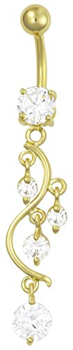 14kt Gold Plated Surgical Steel Fancy CZ Crystal Vine Drop Multi Gem Dangle Belly Button Ring